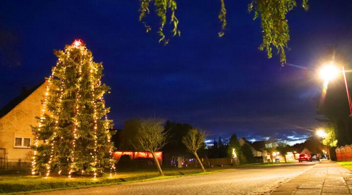 Festlich beleuchteter Weihnachtsbaum im Zentrum von Kummersdorf. Foto: Marcel Gäding