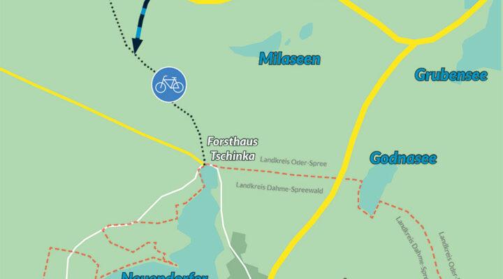 Der neue Radweg von Kehrigk nach Tschinka ersetzt einen alten Sandweg. Zeichnung: Marcel Gäding